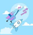 businessman in superhero cloak flying up rocket vector image