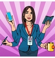 businesswoman works hard vector image vector image