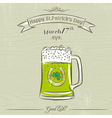 Card for St Patricks Day with green beer mug vector image vector image