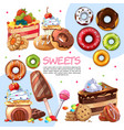 cartoon sweet products template vector image vector image