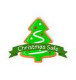 christmas sale price tag gingerbread xmas tree vector image vector image