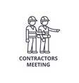 contractors meeting line icon sign vector image vector image