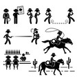cowboy wild west duel bar horse stick figure vector image