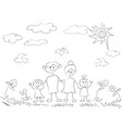 doodle happy family background vector image