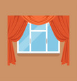flat window with red curtains on brown wall vector image vector image