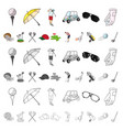 golf and attributes cartoon icons in set vector image vector image