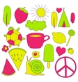 hand drawn neon doodles collection vector image vector image
