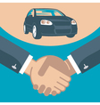 Handshake and car on a stand vector image