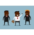 Happy businessman and confident bodyguards vector image