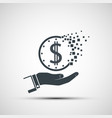 icon hand holds a dollar vanishing coin vector image vector image