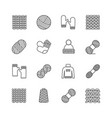 knit icon set yarn knittind clothes knitted vector image vector image