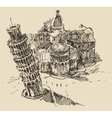 Leaning Tower Pisa Cathedral Italy Vintage Sketch vector image