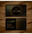 luxury golden line dark business card vector image vector image