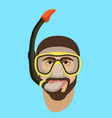 man face in diving mask and snorkel flat style vector image vector image