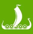 medieval boat icon green vector image vector image