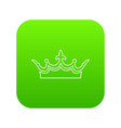 medieval crown icon green vector image vector image