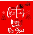Merry Christmas and Happy New Year Handdrawn vector image