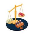 money or law corrupt vector image