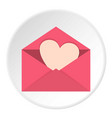 pink envelope with valentine heart icon circle vector image vector image