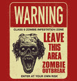 poster zombie outbreak sign board vector image