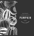 pumpkin design template hand drawn on chalk board vector image