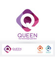 q letter in harmony color round corner rectangle vector image