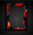 red and black abstract geometric frame corporate vector image