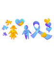 set autism world day awareness puzzle pieces vector image
