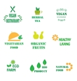 Set of logos for organic and natural food vector image vector image
