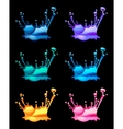 set of splashing water drops black background vector image vector image