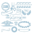 Set of spring ribbons and elements vector image