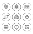set round line icons electrical generator vector image vector image