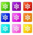 ship wheel icons 9 set vector image vector image