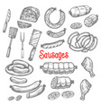 sketch meat sausage products icons set vector image vector image