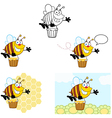 Smiling Bee Flying Collection vector image