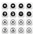 Up and down arrows buttons set vector image vector image