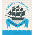 vintage nautical emblem with sailing ship vector image vector image