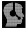 white halftone operator icon vector image vector image