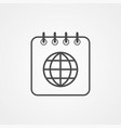 world calendar icon sign symbol vector image