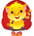 yellow earthy pig with golden coins vector image vector image