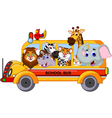 animal cartoon on a school bus vector image