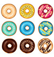 different glazed colored donuts set vector image