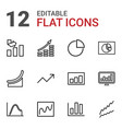 12 graph icons vector image vector image
