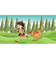 A girl running with her dog vector image