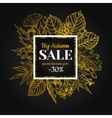autumn sale gold banner with leaves vector image