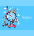 bicycle wheels people on scooter teamwork process vector image