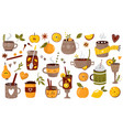 big set hot drinks mulled wine cocoa coffee vector image