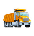 big yellow tipper truck isolated white vector image