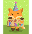 Birthday Fox Cartoon vector image
