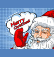 blinking santa claus with hand up vector image vector image